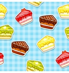 Seamless pattern with colorful cake stickers vector image vector image