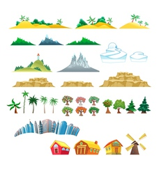 Set of trees mountains hills islands and buildings vector image