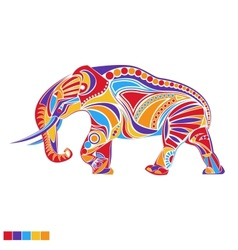 Silhouette of Elephant with Ornament in vector image vector image