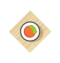 Sushi roll with abstract vegetables salmon vector image