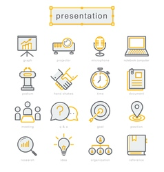 Thin line icons set present vector image vector image