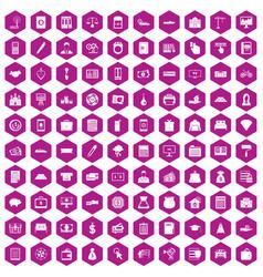 100 credit icons hexagon violet vector