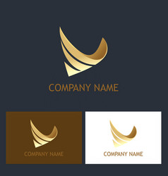 Abstract 3d business gold logo vector