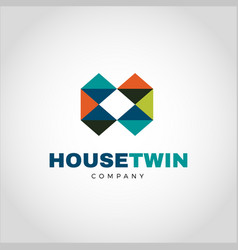 abstract colorful geometry logo letter h type vector image