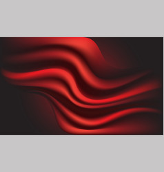 abstract red fabric wave on dark background vector image