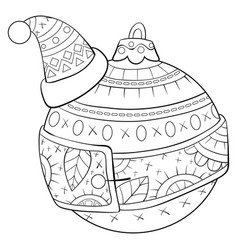 Adult coloring bookpage a christmas ball wearing vector