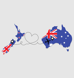 Airplane travel from new zealand to australia vector