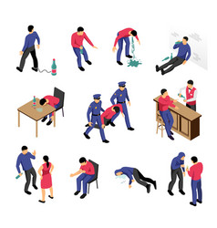 Alcoholism and narcotics isometric set vector