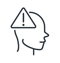 Alzheimers disease neurological brain warning line vector