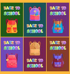 Back to school goods poster with bags for kids vector