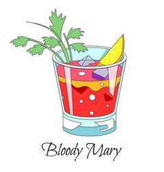 bar cocktail bloody mary drink with celery stick vector image