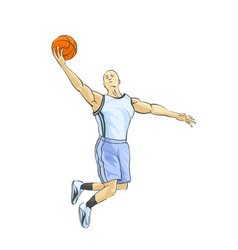 basketball player throws the ball vector image vector image