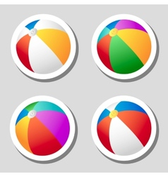 Beach ball stickers set vector image