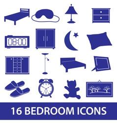 bedroom icon set eps10 vector image