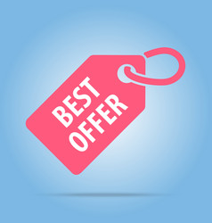 best offer tag red color vector image