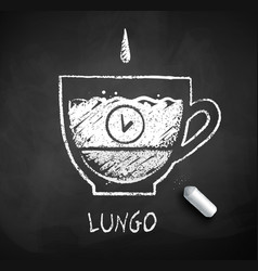 black and white sketch lungo coffee vector image