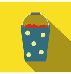 Blue bucket of fruit vector image