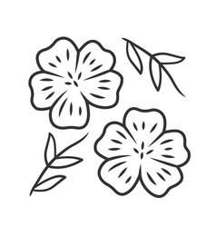 Blue flax plant linear icon linen wild flower vector