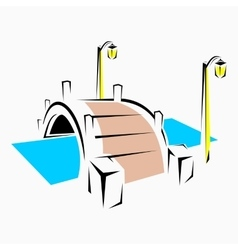 Bridge over river vector