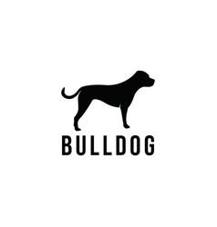 Bulldog dog breed logo design vector