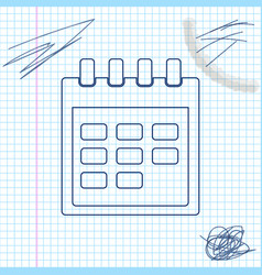 calendar line sketch icon isolated on white vector image