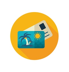 Card with palm flat icon summer vacation vector