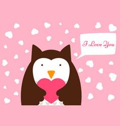 cartoon owl heart valentine day vector image