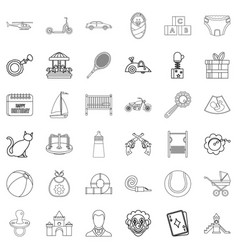 Children toy icons set outline style vector