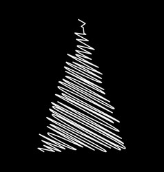 christmas tree scribble design isolated on black vector image
