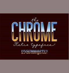 chrome metal alphabet vector image