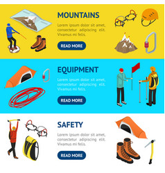Color mountaineering signs 3d banner horizontal vector