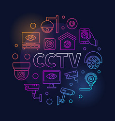 Colored cctv round modern vector