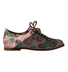 Colorful silhouette of male shoe with floral vector