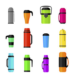 Colorful thermos cups flat vector