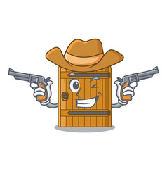 Cowboy cartoon wooden door massive closed gate vector