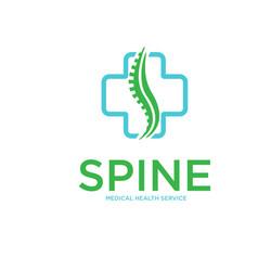 Cross spine health logo designs simple vector