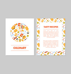 culinary tasty recipes banner templates set vector image