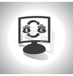 Curved dollar-euro trade monitor icon vector image