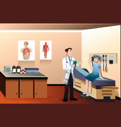 Doctor patient in clinic vector