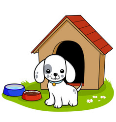 dog outside his doghouse vector image