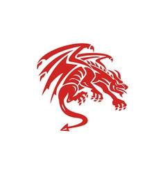Dragon Gargoyle Crouching Silhouette Retro vector