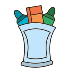 Drawing cup with various colores markers school vector