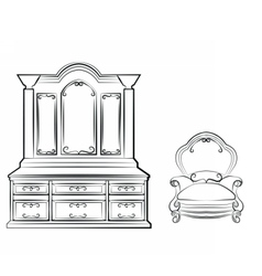 Dressing table with ornamented furniture vector