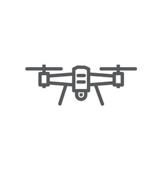 Drone line icon on white background vector