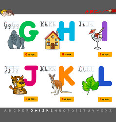 Educational cartoon alphabet with animals vector