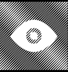 Eye sign icon hole in moire vector