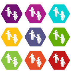female and male to market icons set 9 vector image