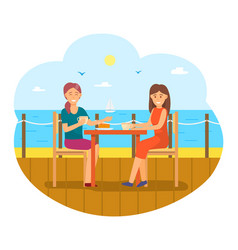 Female friends eating out women seaside vector