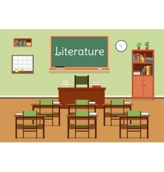 Flat of literature classroom vector