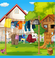 Front house with clothes hanging on vector